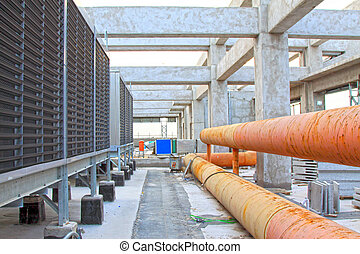 Exhaust fan and pipeline construction site