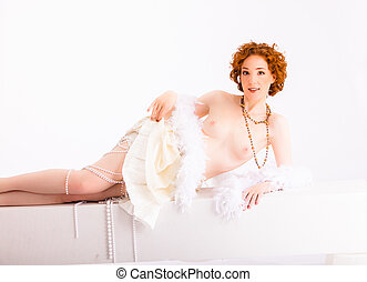 redhaired woman - recumbent redhaired nude with feather boa...