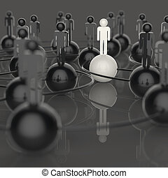 3d white and black and red human social network and...