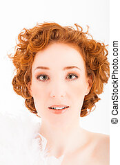 redhaired woman - portrait of a redhaired woman with white...