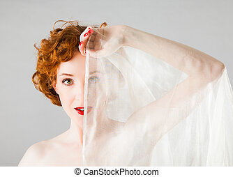 redhaired woman - redhaired female nude with a piece of...
