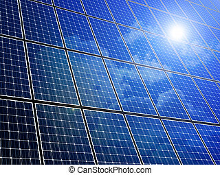 Solar Panel Array - Array of solar panels with blue sky...