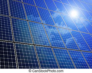 Solar Panel Array - Array of solar panels with blue sky...