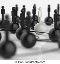 3d stainless human social network and leadership as concept...