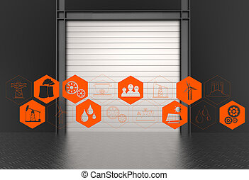 industry icons on industry gate background as concept design