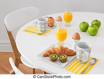 White table with healthy breakfast - White round table with...