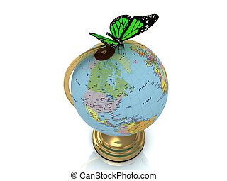 Globe on a gold substrate and a beautiful green butterfly