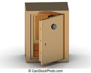 Safe deposit box in gold with the door open on a white...