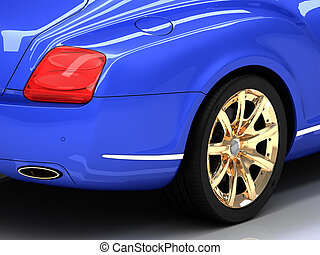 Premium blue car with gold wheels