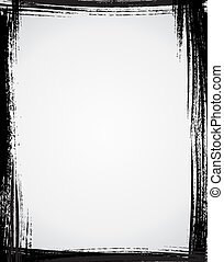 Grunge frame in black color and white  background.