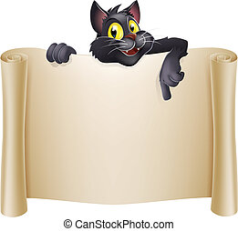 Halloween Cat Banner - Halloween cat banner with a black...
