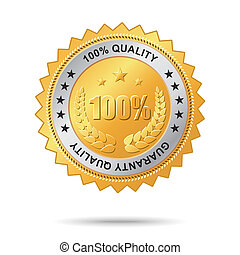 Guaranty quality golden label - Vector golden badge named...