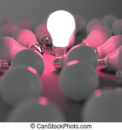 3d growing light bulb standing out from the unlit...