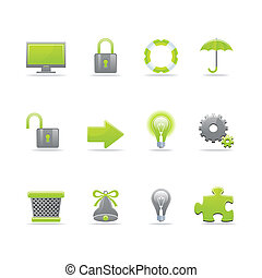 Glossy icon set - Set of 12 glossy web icons Part 3 (see...