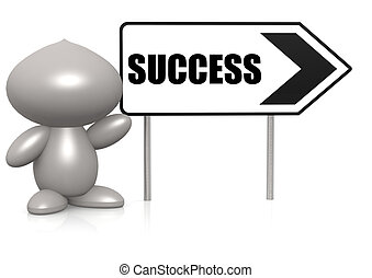 Figure with success sign board