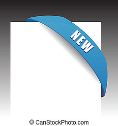 New blue corner business ribbon on white background.