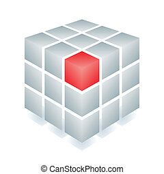 Cube with one red block
