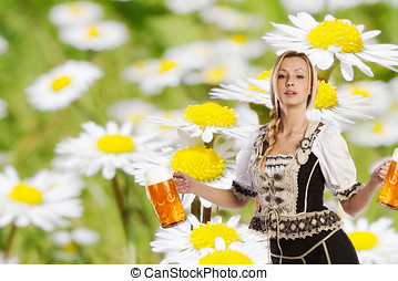 tiroler woman with beer - party creation made with a very...