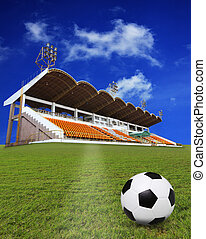 soccer football on green field with stadium background use...