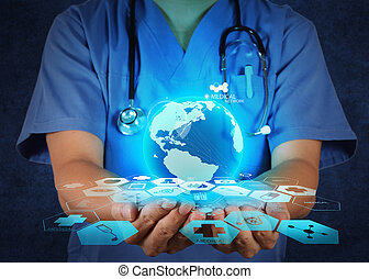 Medical Doctor holding a world globe in her hands as medical...