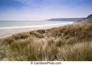 Sennen Cove beach and sand dunes before sunset Cornwall...