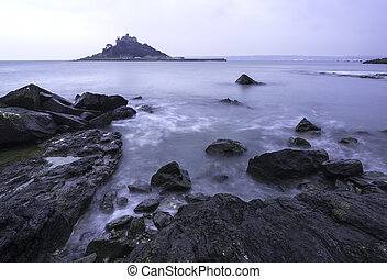 St Michaels Mount Bay Marazion landscape pre-dawn long...