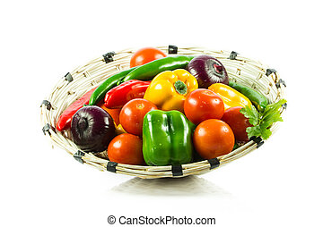 Fresh vegetable isolated on white background. Healthy...