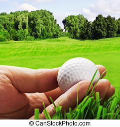 golf ball in his hand - golf ball in his hand isolated on a...