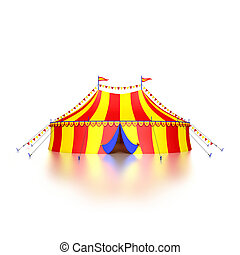 Circus tent - Stylized colorful circus tent, isolated on...