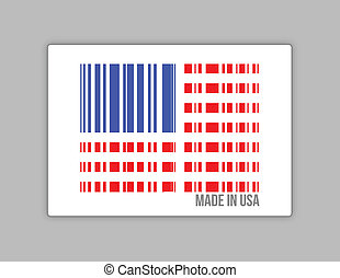 Barcode USA Made in usa illustration design over white