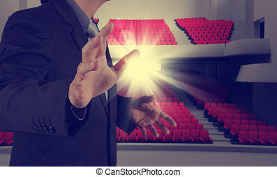 success businessman as theater manager as vintage style...