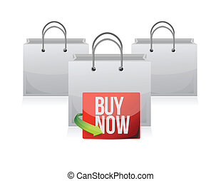 buy now sign on a shopping bag.