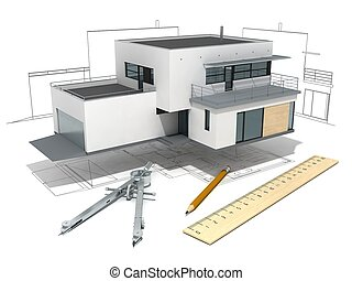 House project - Modern house with project, ruler, compasses...
