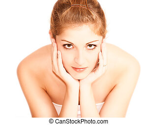 Young sexy woman portrait, isolated
