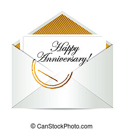 Happy Anniversary gold mail letter
