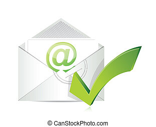 Open envelope with a check mark symbol illustration design...