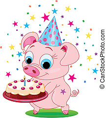 Birthday_pig - Piglet holding birthday cake, smiling. Vector...
