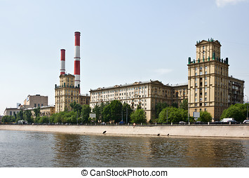 old houses Stalinist buildings Berezhkovskaya in Moscow...