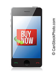 buy now sign on a smartphone. illustration