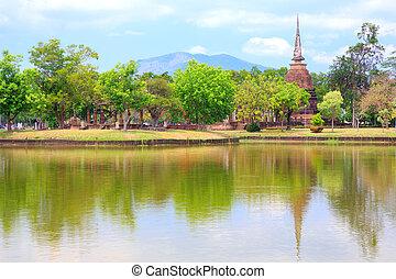 Sukhothai Historical Park Thailand - Templa Pagoda Ruin in...