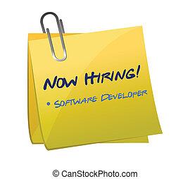hiring software developer post illustration design over...