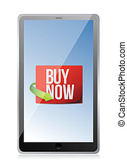 buy now sign on a tablet. illustration