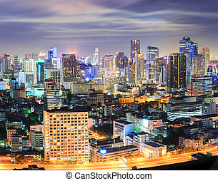 Bangkok downtown Skyline at night - Aerial view of Bangkok...
