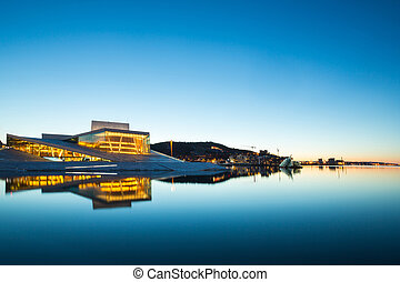 Oslo Opera House Norway - Oslo Opera House shine at dusk,...