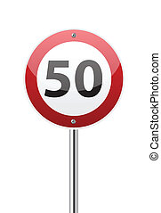 Traffic sign speed limit fifty on white