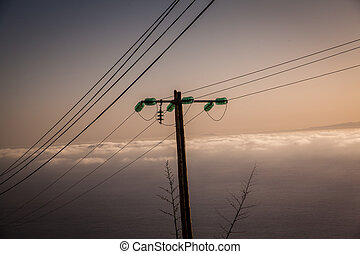 electric wire - pole with electric and telephone wiring