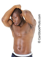 Muscular black man, against white background