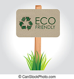 eco friendly fences over gray background vector illustration...
