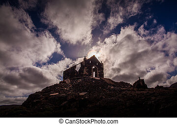 church ruin - ruin of a church on a stony cliff