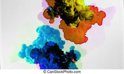 abstract coloured liquids mixing in water shot in super slow...